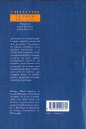 Le Philosophe Comme Fiction - 4ème de couverture - Format classique