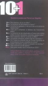 10+1 ; questions sur la recherche - 4ème de couverture - Format classique