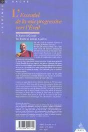 L'Essentiel De La Voie Progressive Vers L'Eveil - 4ème de couverture - Format classique