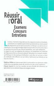 Réussir l'oral ; examens, concours, entretiens - 4ème de couverture - Format classique