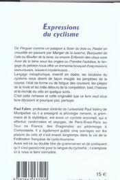 Expressions du cyclisme - 4ème de couverture - Format classique