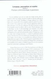 Langage, perception et realite t.2 ; physique, phenomenologie et grammaire - 4ème de couverture - Format classique