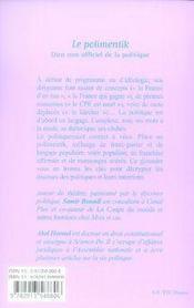 Le polimentik, dico non officiel de la politique - 4ème de couverture - Format classique