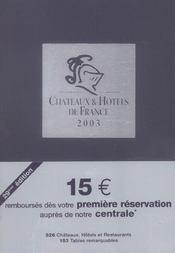 Guide Chateaux Et Hotels De France 2003 - Intérieur - Format classique