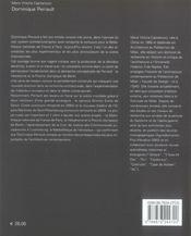 Dominique PERRAULT ; œuvres récents - 4ème de couverture - Format classique