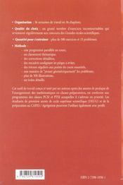 Panoramaths 36 Semaines De Travail Personnel En Sup Pcsi-Ptsi - 4ème de couverture - Format classique