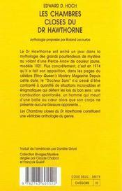 Les Chambres Closes Du Dr Hawthorne - 4ème de couverture - Format classique