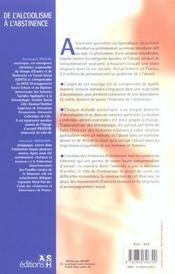 De L Alcoolisme A L Abstinence - 4ème de couverture - Format classique