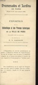 NOTICE - PROMENADE ET JARDINS DE PARIS (DEPUIS LE XVe SIECLE JUSQU'EN 1830) - Couverture - Format classique