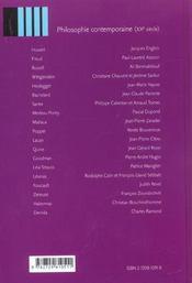 Le vocabulaire des philosophes philosophie contemporaine (xxe siecle) - 4ème de couverture - Format classique
