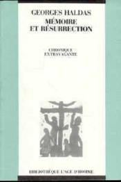 Memoire Et Resurrection - Couverture - Format classique