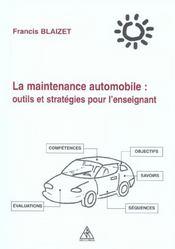 La maintenance automobile ; outils et stratégies pour l'enseignant - Intérieur - Format classique