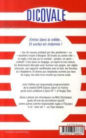 Dicovale : le dico non-officiel du rugby - 4ème de couverture - Format classique