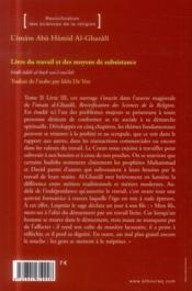 Livre du travail et des moyens de subsistance - 4ème de couverture - Format classique