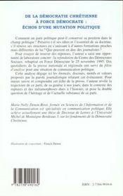 De La Democratie Chretienne A Force Democrate ; Echos D'Une Mutation Politique - 4ème de couverture - Format classique