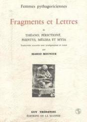 Fragments Et Lettres / Femmes Pythagoriciennes - Couverture - Format classique