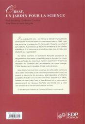 Orsay, un jardin pour la science - 4ème de couverture - Format classique