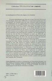 La Morphogenese De Paris - 4ème de couverture - Format classique