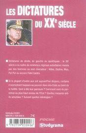 Les Dictatures Du Xx Siecle - 4ème de couverture - Format classique