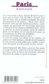Paris de pont en pont - 4ème de couverture - Format classique