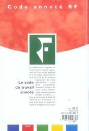Le code du travail annoté - 4ème de couverture - Format classique