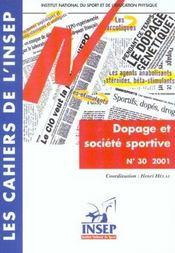 Les Cahiers De L'Insep N 30: Dopage Et Societe Sportive - Intérieur - Format classique