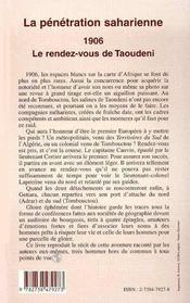 La Penetration Saharienne 1906 Le Rendez-Vous De Taoudeni - 4ème de couverture - Format classique