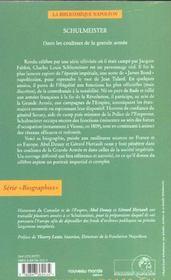 Schulmeister ; Dans Les Coulisses De La Grande Armee - 4ème de couverture - Format classique