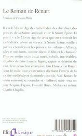Le roman de Renart - 4ème de couverture - Format classique