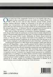 André gide - eugène rouart, correspondance t.1 ; 1893-1901 - 4ème de couverture - Format classique