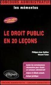 Le Droit Public En 20 Lecons Nouvelle Edition Les Mementos - Couverture - Format classique