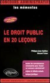 Le Droit Public En 20 Lecons Nouvelle Edition Les Mementos - Intérieur - Format classique