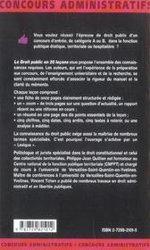 Le Droit Public En 20 Lecons Nouvelle Edition Les Mementos - 4ème de couverture - Format classique