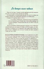 Le Temps Sans Retour ; Memoires De Madagascar - 4ème de couverture - Format classique