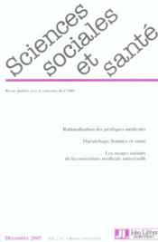 Revue Sciences Sociales Et Sante N.23 ; Rationalisation Des Pratiques Médicales - Couverture - Format classique