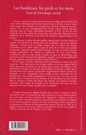 Les Banlieues Les Profs Et Les Mots ; Essai De Lexicologie Sociale - 4ème de couverture - Format classique
