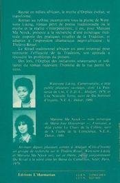 Orphée-dafric, roman ; orphée d'afrique, théâtre-rituel - 4ème de couverture - Format classique