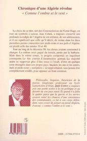 Chronique d'une Algérie révolue ; comme l'ombre et le vent - 4ème de couverture - Format classique