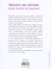 Tricots En Coton Pour Toutes Les Saisons - 4ème de couverture - Format classique