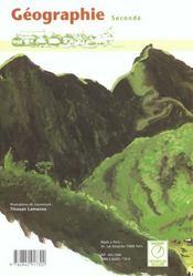 Geographie seconde - 4ème de couverture - Format classique