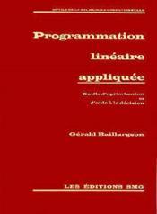 Programmation lineaire appliquee - Couverture - Format classique