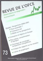 Revue De L'Ofce N.73 ; Avril 2000 - Intérieur - Format classique