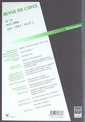 Revue De L'Ofce N.73 ; Avril 2000 - 4ème de couverture - Format classique