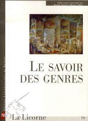 Revue La Licorne T.79 ; Le Savoir Des Genres - Intérieur - Format classique