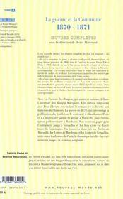 Emile zola oeuvres completes tome 4 la guerreet la commune 1870-1871 - 4ème de couverture - Format classique