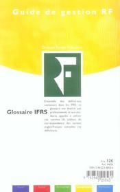Glossaire IFRS - 4ème de couverture - Format classique