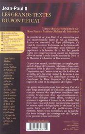 Les Grands Textes Du Pontificat - Textes Choisis Et Presentes Par Dom Patrice Mathieu De Solesmes - 4ème de couverture - Format classique