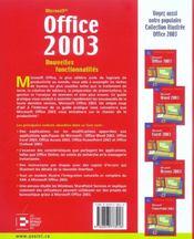 Office 2003, Nouvelles Fonctionnalites La Migration D'Office Xp A Office - 4ème de couverture - Format classique