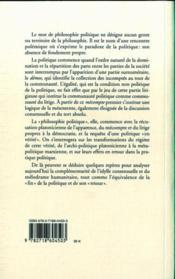 La mésentente ; politique et philosophie - 4ème de couverture - Format classique