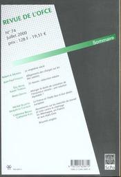 Revue de l'ofce - 4ème de couverture - Format classique